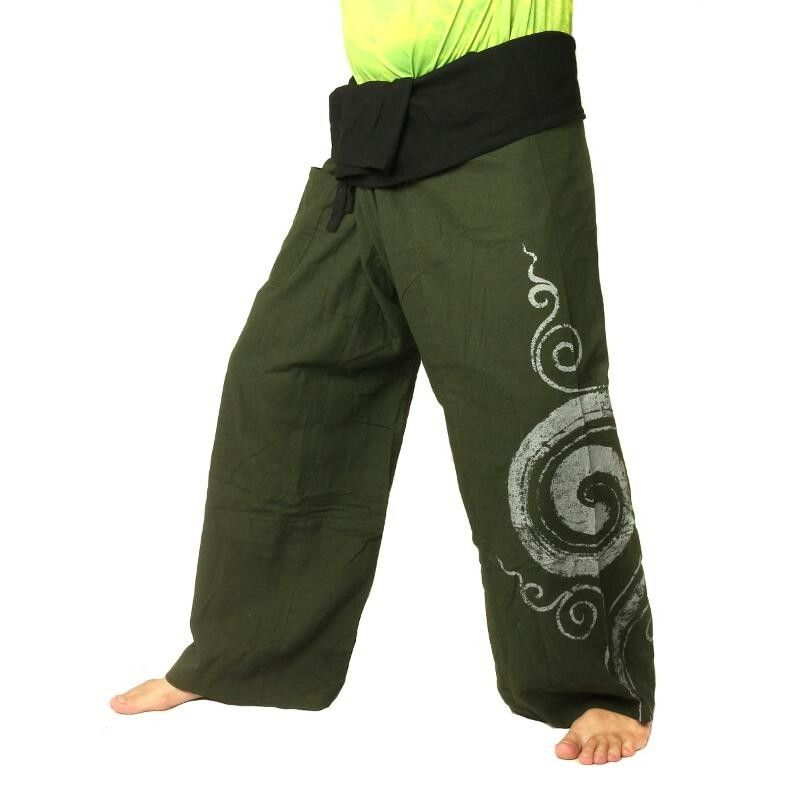 pantalon thaï de pêcheur extra long - vert olive avec spirale comme le coton imprimé