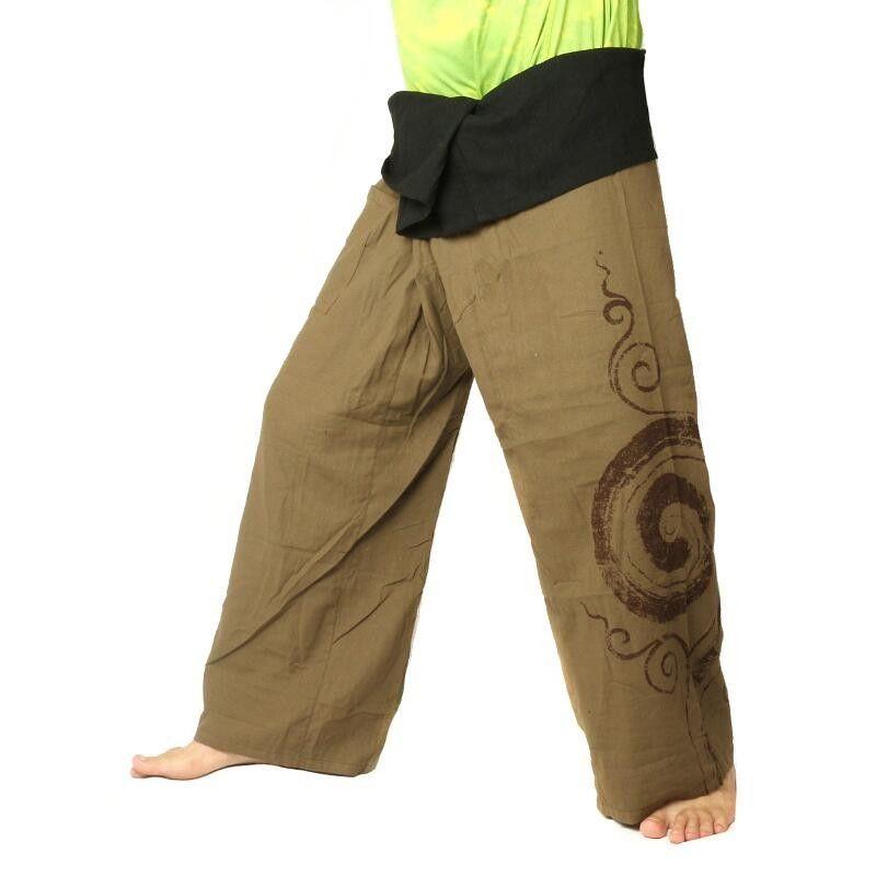 Thai Fisherman Pants extra lang - dunkles khaki Spiral Aufdruck- Baumwolle