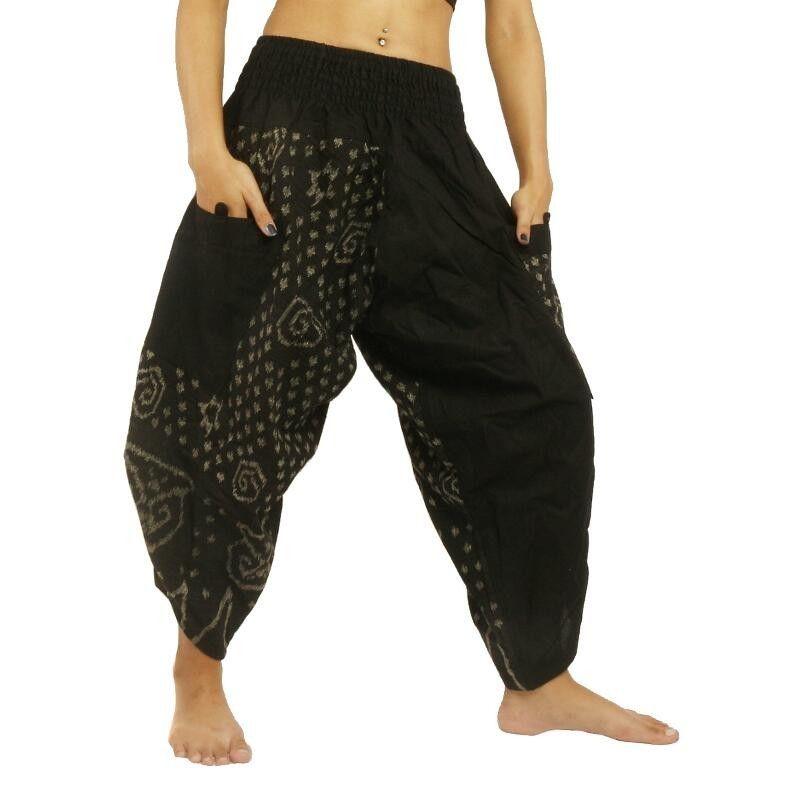 3/5 harem pants baggy pants with side pockets Ethno pattern