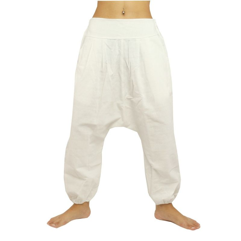 Haremshose Baggy Pants  - Baumwolle - weiss