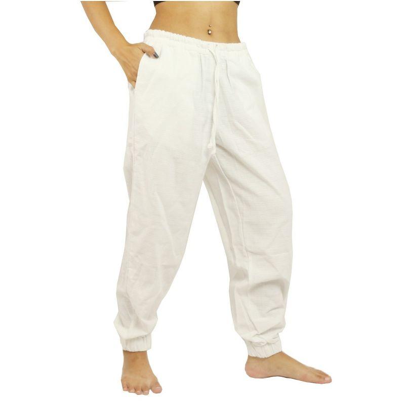 Sarouel baggy, taille haute - coton - blanc
