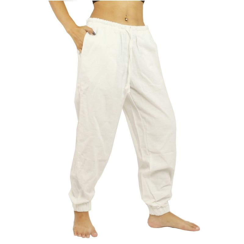 Pantalones harem holgados, corte alto - algodón - blanco
