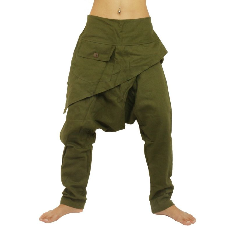 Haremshose Baggy Pants - mit dreieckiger Applikation Baumwolle - grün