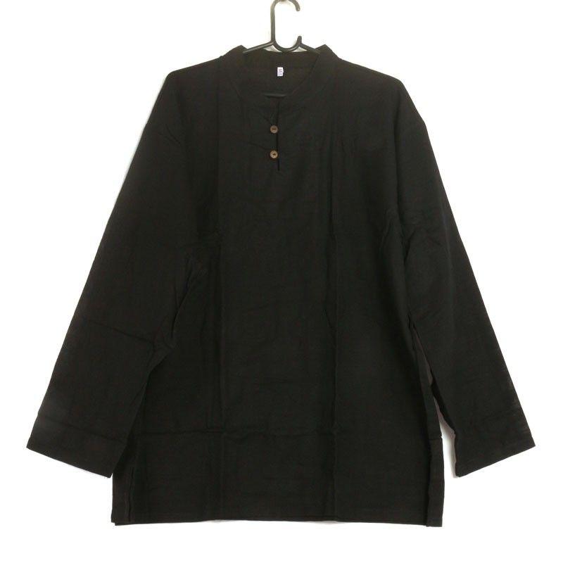 Thai Hemd aus Baumwolle fairtrade schwarz Größe XXL