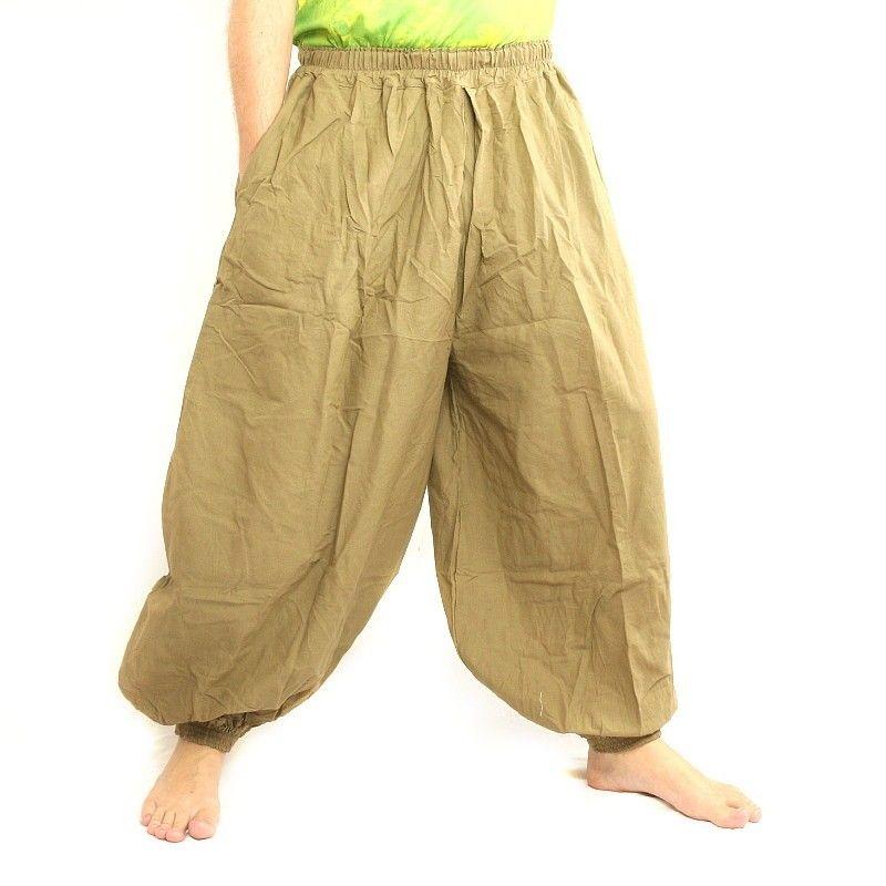 Haremshose Baggy Pants Baumwolle khaki