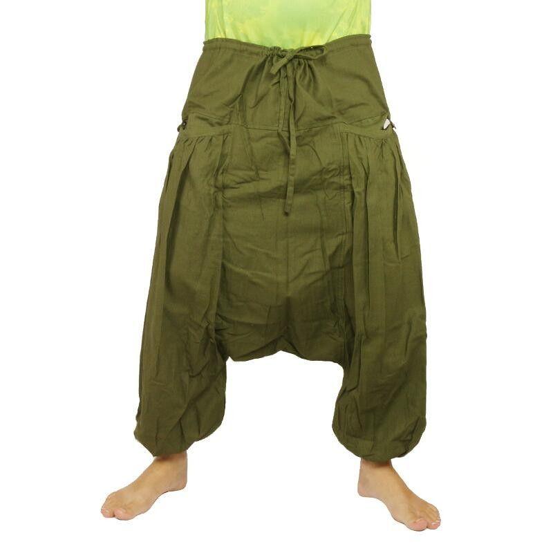 pantalones afganos con dos grandes bolsillos laterales, verde