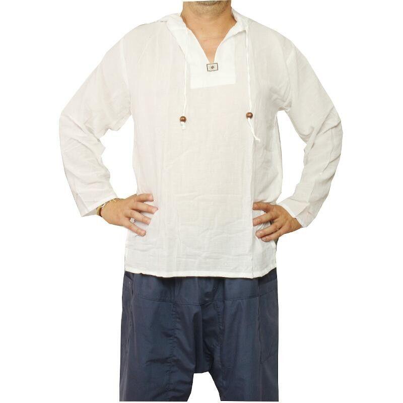 Thai Kapuzenhemd aus Baumwolle weiß Größe XL
