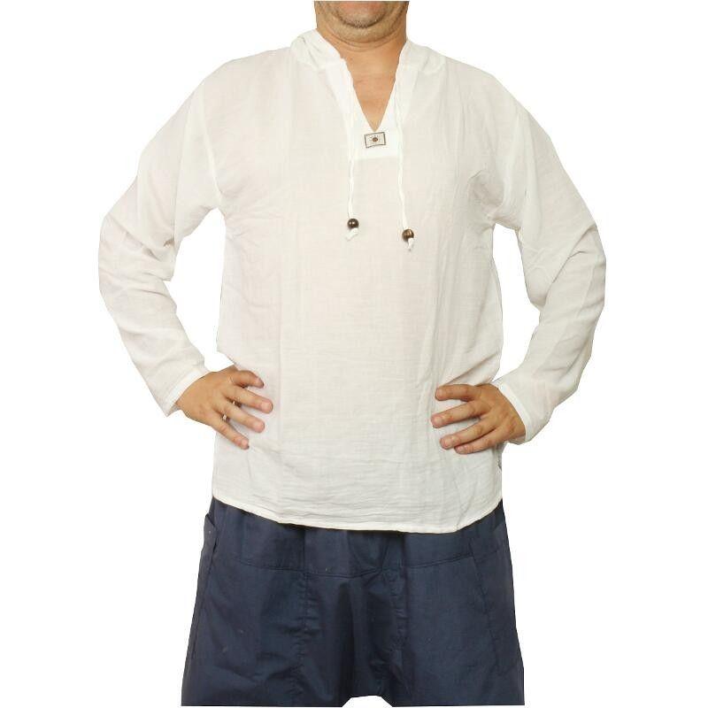 Thai Kapuzenhemd aus Baumwolle weiß Größe XXL