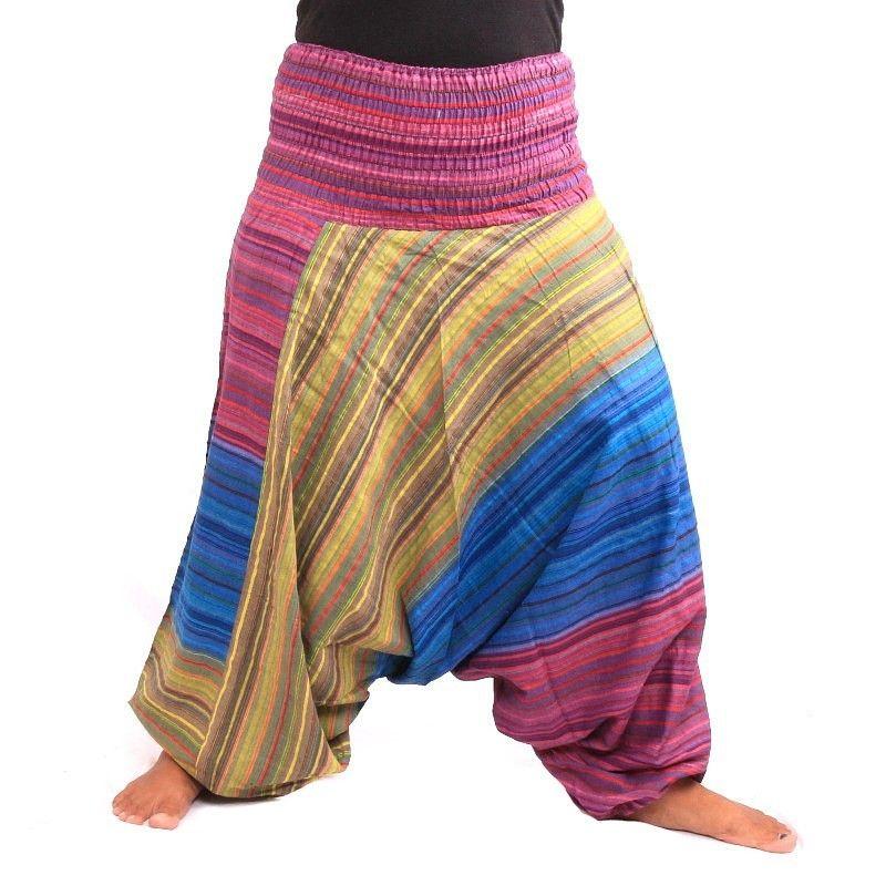 pantalones harén colorido a rayas