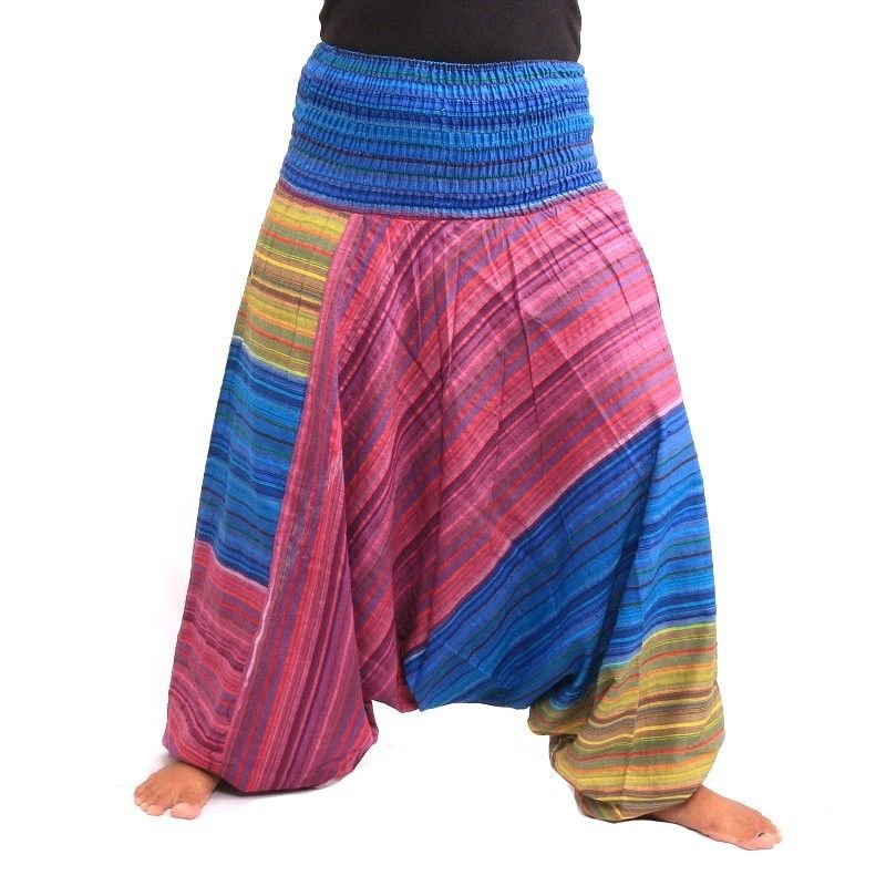 pantalones harén colorido cordón rayado