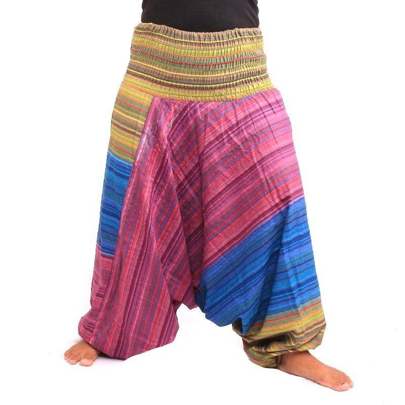 Harem pants striped with drawstring