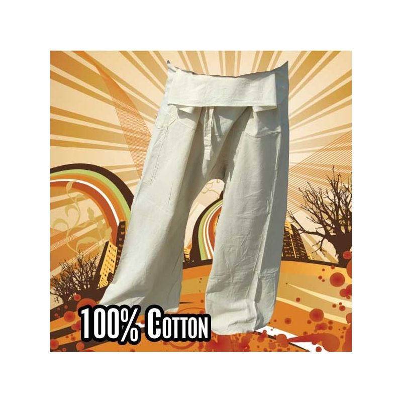 Pantalones de pescador tailandés - Sin teñir - Algodón