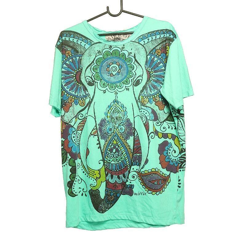 """""""Mirror"""" Hippie Ganesha Elefant T-Shirt Größe L"""