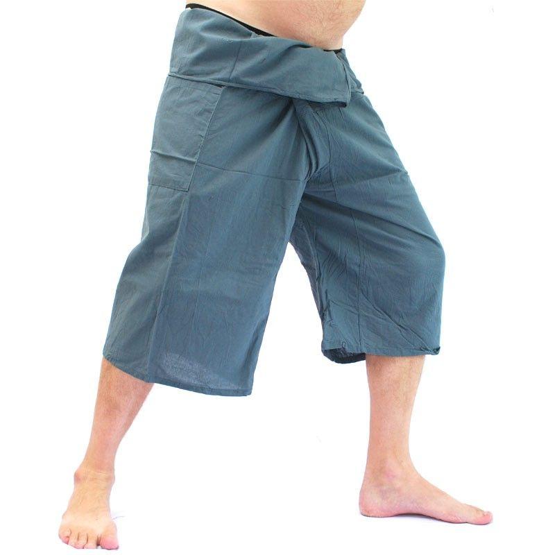 3/4 Thai Fisherman pants short - gray - cotton