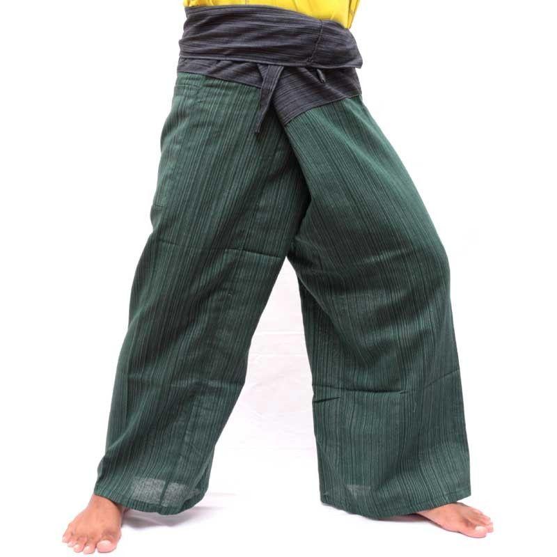 Thai Fisherman Pants Cotton Mix - Green Black