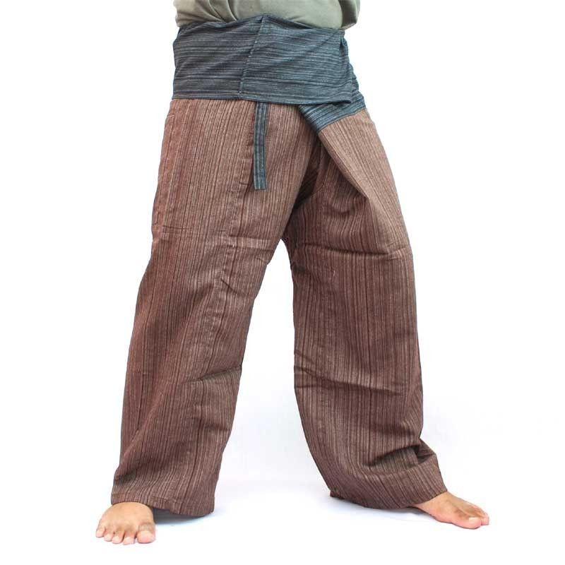 Thai fisherman trousers cotton brown black