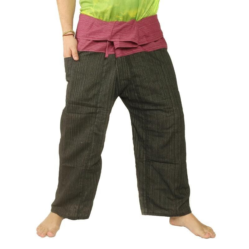 Thai Fisherman Pants Cotton Mix - Black Red