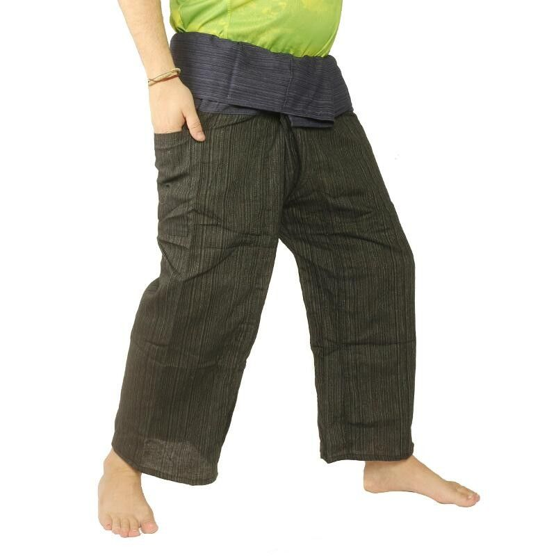 Thai Fisherman Pants Cotton Mix - Green Black