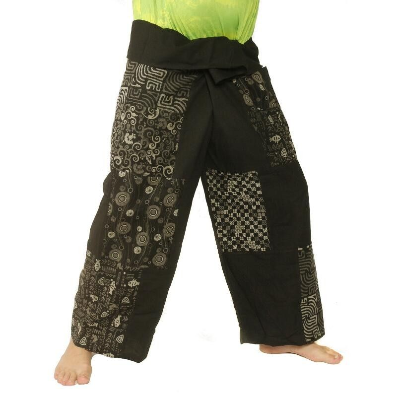 Thai fisherman pants patchwork black size L