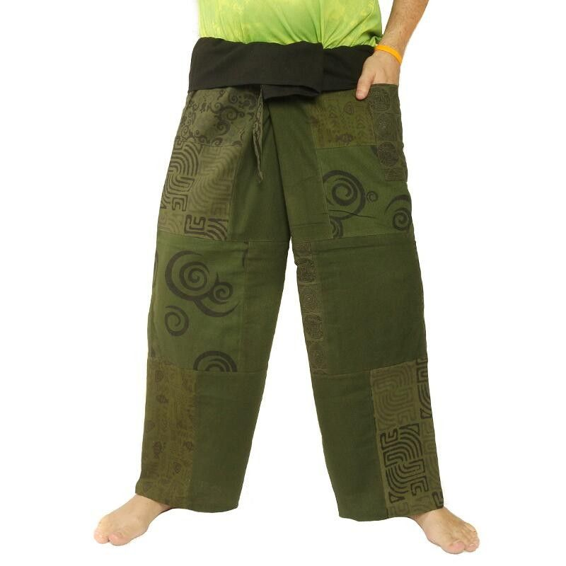Thai fisherman pants patchwork green size L