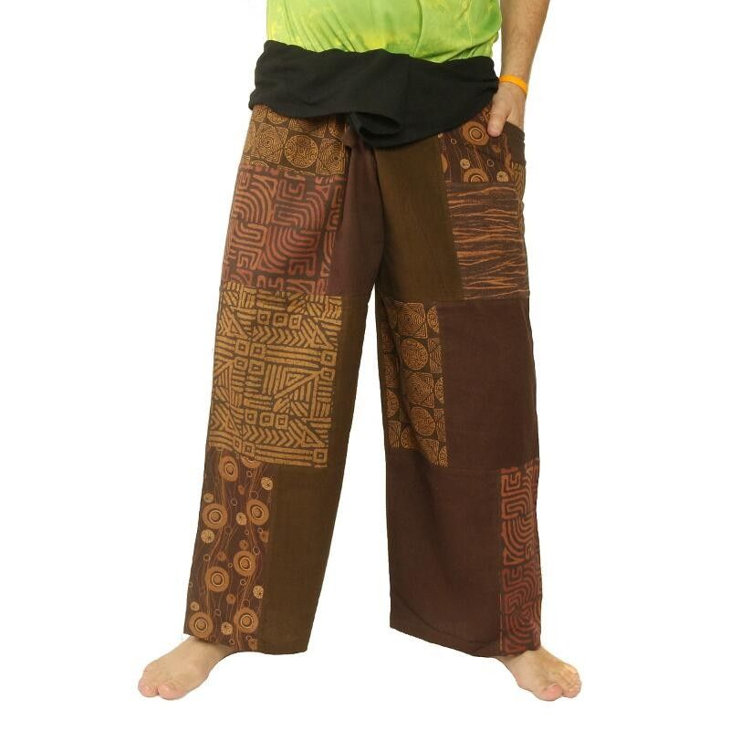 Thai fisherman pants patchwork brown size L