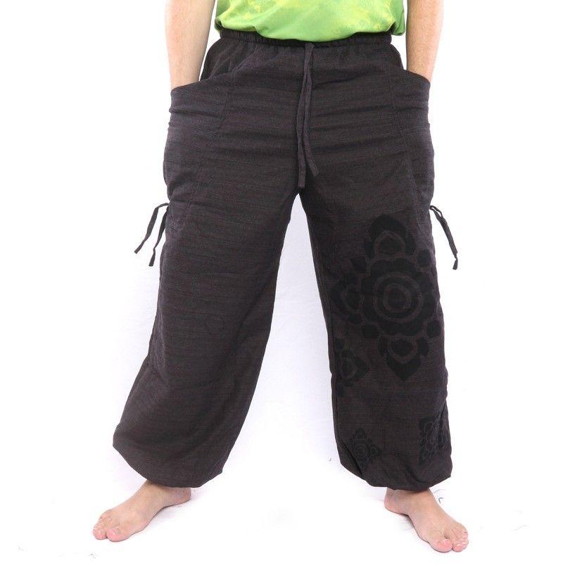 Harem pants high cut black Thai floral pattern