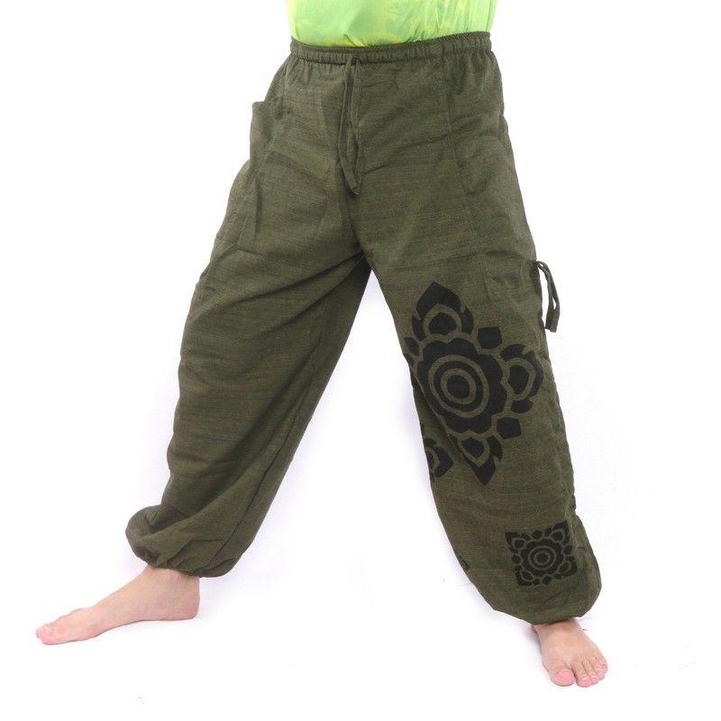 Harem pants high cut green Thai floral pattern