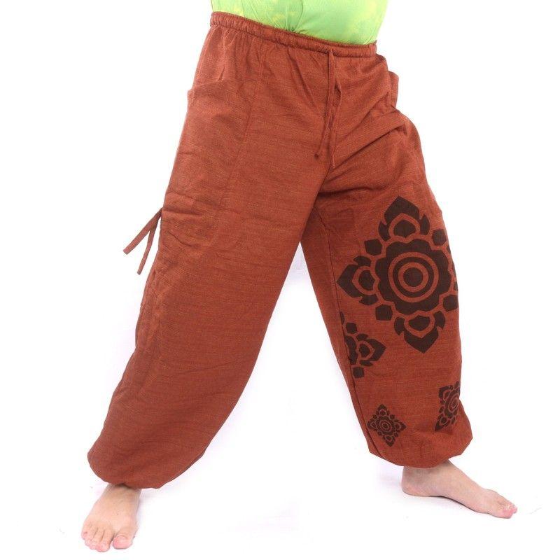Harem pants high cut orange Thai floral pattern