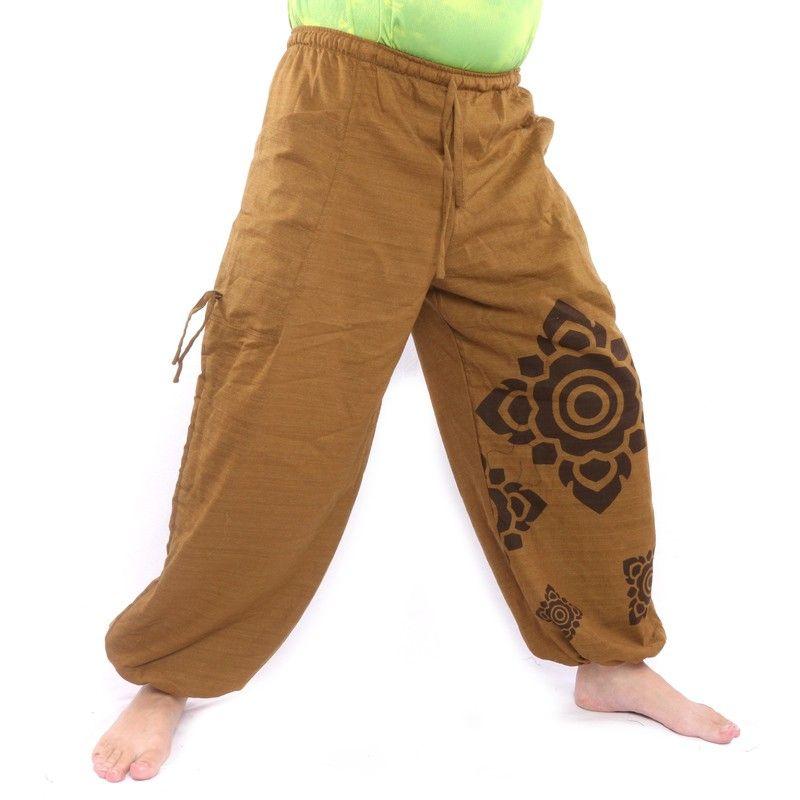 Harem pants high cut light brown Thai flower ornaments