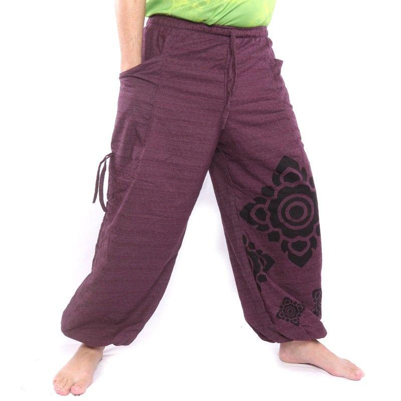 Harem pants high cut magenta printed with Thai flower ornaments