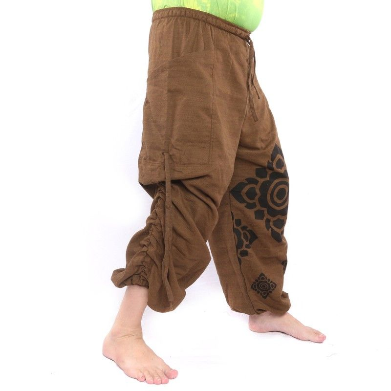 Harem pants brown printed with flower ornaments