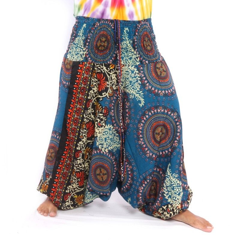Pantalones Anchos Para Mujeres Mandala Flores Orientales Adornos Azules Jin01 D11