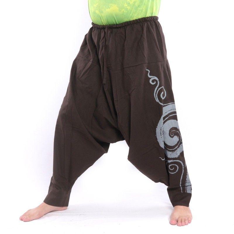 Aladdin pants with spiral / floral design print - dark brown