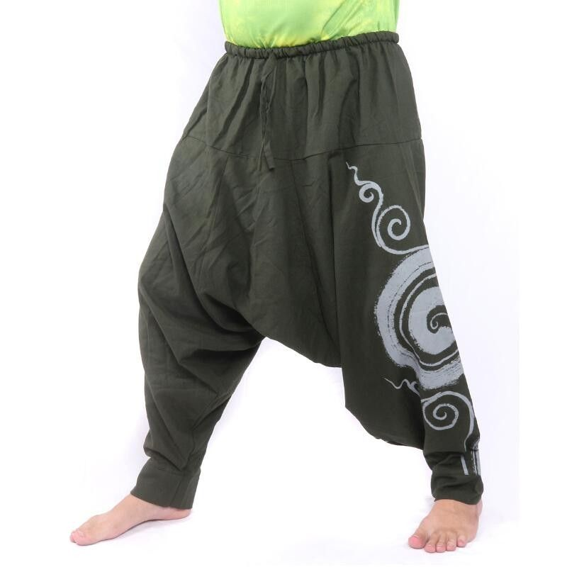 Aladdin Pants with Spiral / Floral Design print - dark green