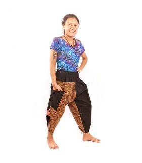 7/8 harem pants with side pockets Ethno pattern