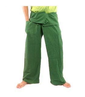 Pantalones de pescador tailandés - verde oscuro - algodón extralargo