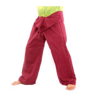 Pantalon pêcheur thaï - rouge bordeaux - coton extra long