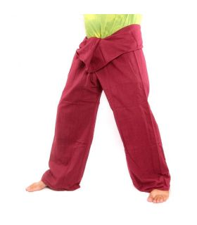 Pantalones de pescador tailandés -  rojo burdeos - algodón extralargo