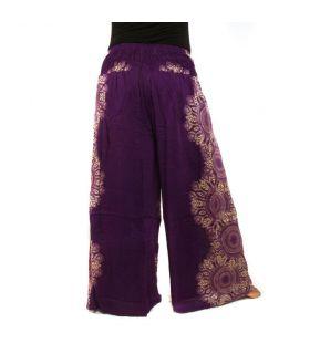 Pantalones Anchos viscosa mandala magenta