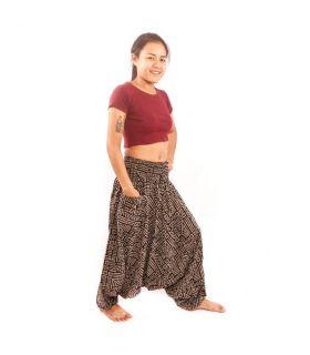 Pantalones de harén tailandeses Algodón con patrón azteca