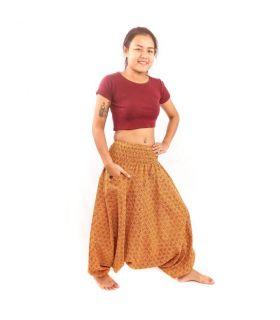 Pantalones tailandeses aladdin algodón con estampado de diamantes marrón