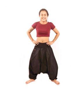 Pantalón tailandés aladdin algodón negro con bolsillo lateral