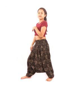 Pantalones de aladino tailandés patrón de onda en blanco y negro