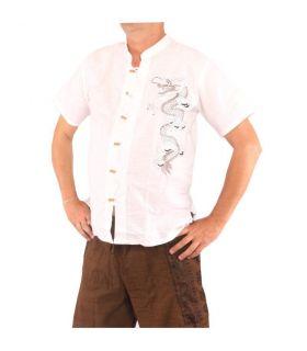 Chinese men's shirt short sleeve dragon