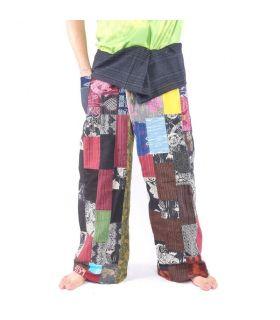 Pantalones de pescador tailandeses de retazos, talla XL