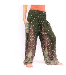 Pantalones de harén de pluma de pavo real verde