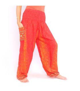 Pantalones de harén de pluma de pavo real naranja