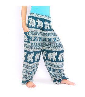 Pantalon éléphant turquoise