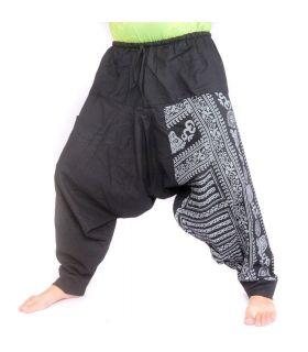 Harem pants with Om/Floral design print - black