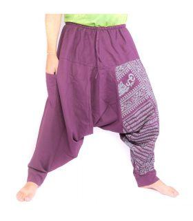 harem pants with om/floral design print - purple